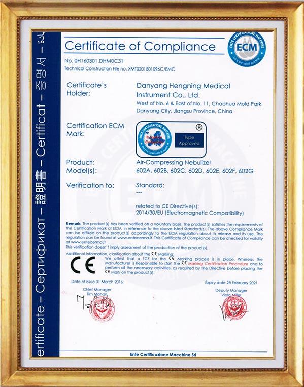 Nebulizer CE certificate EMC-ECM1282